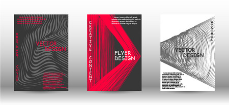 Business cover design. 3D distorted lines for brochure, sound poster. Trendy geometric patterns. EPS10 Vector Design.