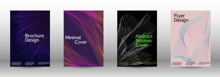 Cover design template set of a with abstract gradient linear waves. Fashionable style.  Sound flyer for creating a fashionable abstract cover, banner,poster.