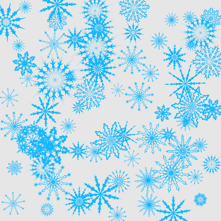 Christmas and New Year vector background with blue snowflakes. The effect of decorating the falling blue snowflakes. Winter vacation. Good for Christmas card, banner or poster. EPS 10