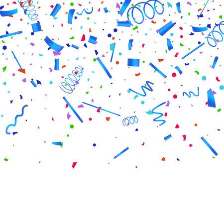 Papel picado. Confeti de colores sobre fondo blanco. Fondo festivo festivo. Adecuado para fondo de postal, pancarta, póster, diseño de portada.