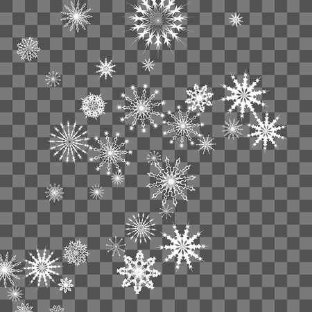 Snowflakes fall on the background. Winter vector background. The effect of decorating snowflakes. The winter vacation. Well suited for a Christmas card, banner or poster. EPS 10 Illusztráció
