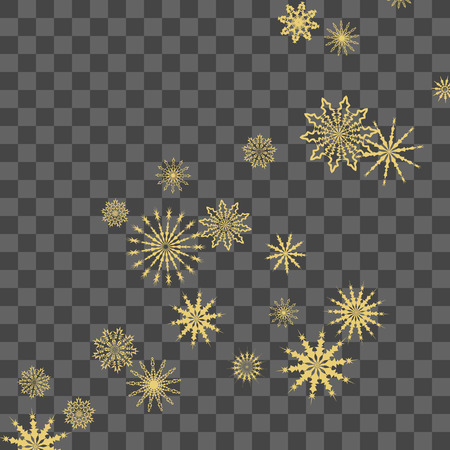 Christmas and New Year vector background with golden snowflakes. The effect of decorating falling golden snowflakes. Winter vacation. Good for Christmas card, banner or poster. EPS 10 Ilustração
