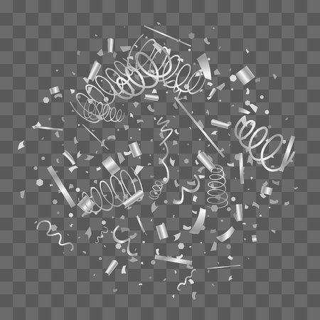 Silver confetti. Silver texture glitter on a transparent background. The element of design. The silvery abstract textures are chaotically falling. The Vector illustration, EPS 10.