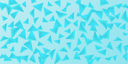 Triangular background. Abstract composition of 3d triangles. 3D vector illustration . Modern geometric background.  Blue  three-dimensional triangle in space.