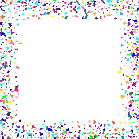 Coriandoli. Coriandoli colorati su sfondo bianco. Priorità bassa festiva di festa. Adatto per sfondo cartolina, banner, poster, copertina.