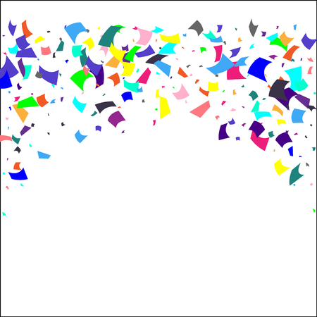 Confetti. Colorful confetti on white background. Holiday festive background. Suitable for postcard background, banner, poster, cover design.Vector.