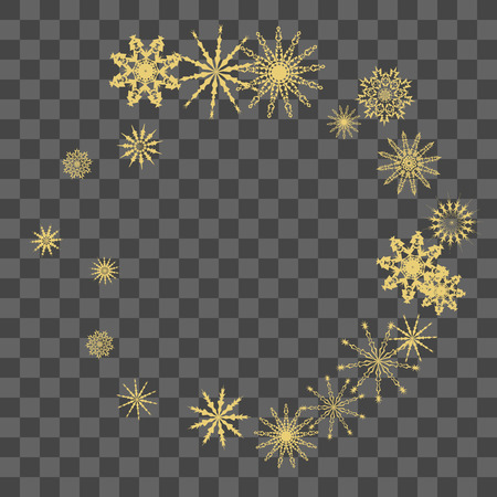 Christmas and New Year vector background with golden snowflakes. The effect of decorating falling golden snowflakes. Winter vacation. Good for Christmas card, banner or poster. EPS 10 일러스트