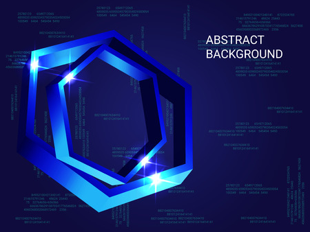 Polygon volume sparkle on background. 3D vector illustration . Modern geometric background. Abstract composition. Blue three-dimensional polygon in space. Zdjęcie Seryjne - 114215848