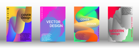 Minimum vector coverage. A set of modern abstract covers. Wave Flow Shape. Abstract 3d Background.   Modern Vector Illustration. Ilustração