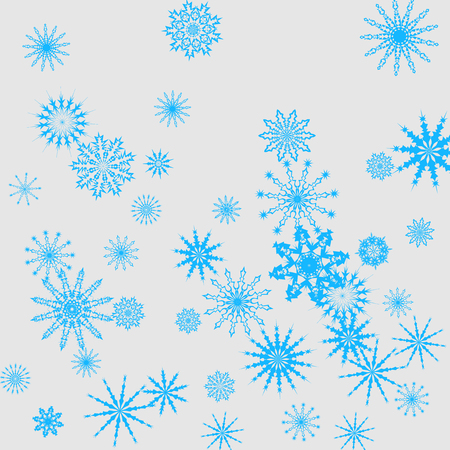 Christmas and New Year vector background with blue snowflakes. The effect of decorating the falling blue snowflakes. Winter vacation. Good for Christmas card, banner or poster. Illustration