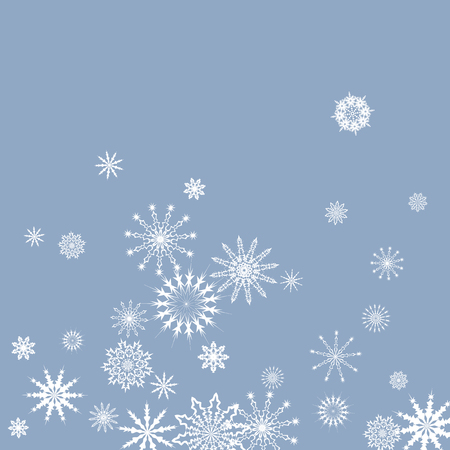 Snowflakes falling on a blue sky background. Winter vector background. The effect of decorating snowflakes. The winter vacation. Well suited for a Christmas card, banner or poster.