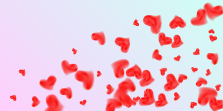 Abstract heart confetti beautifully chaotic for concept design. Romantic red heart background. Creative cover vector concept.  Flyer design, poster template. Hearts of confetti for Valentines day.