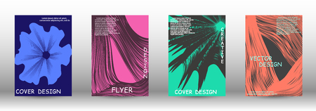 Set of modern abstract covers. 3D distorted lines for brochure, sound poster. Trendy geometric patterns. EPS10 Vector Design.