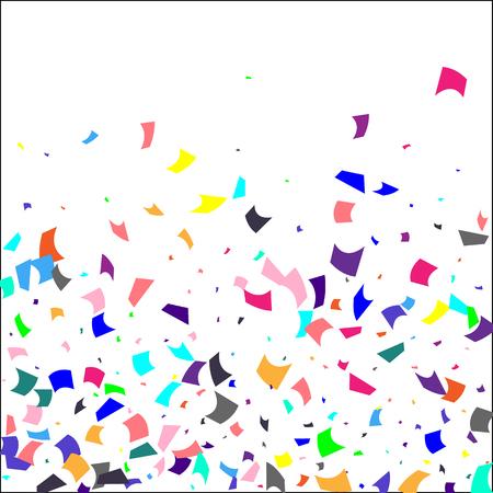 Konfetti. Buntes Konfetti auf weißem Hintergrund. Feiertagsfestlicher Hintergrund. Geeignet für Postkartenhintergrund, Banner, Poster, Cover Design.Vector. Vektorgrafik