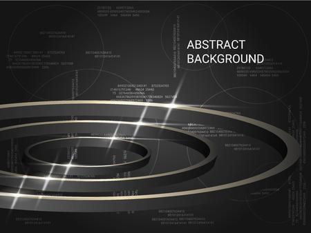 Cercles métalliques scintillent sur fond. Illustration vectorielle 3D. Fond géométrique créatif. Composition abstraite. Cercles de polygones tridimensionnels gris dans l'espace.
