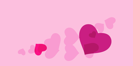 Heart confetti for Valentine's Day. The concept of festive decoration. Fashionable color concept. Trendy pink background in the shape of pink heart confetti for women's day. Illustration