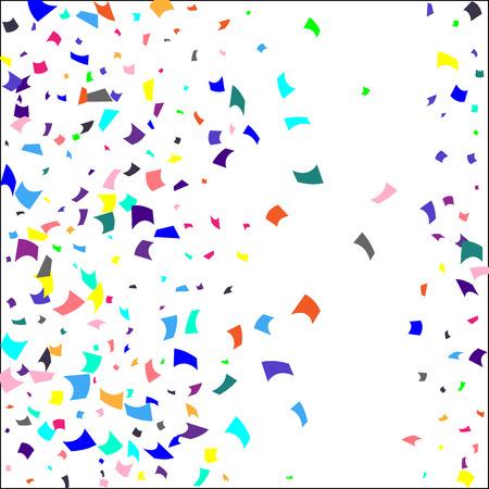 Confettis. Confettis colorés sur fond blanc. Fond festif de vacances. Convient pour le fond de carte postale, la bannière, l'affiche, la conception de la couverture.