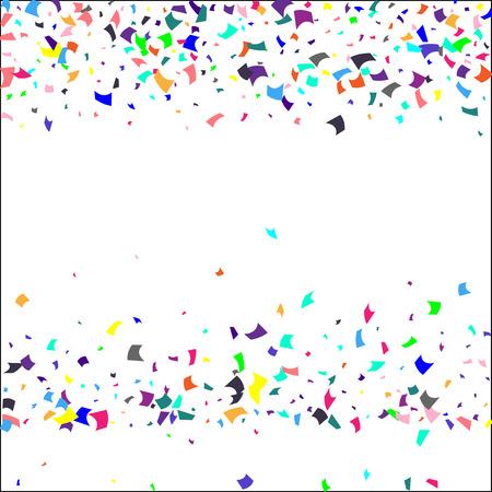 Confetti. Kleurrijke confetti op witte achtergrond. Vakantie feestelijke achtergrond. Geschikt voor briefkaartachtergrond, spandoek, poster, omslagontwerp. Vector.