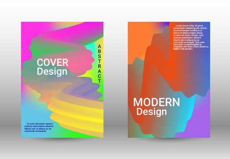 Minimum vector coverage. A set of modern abstract covers. Abstract 3d Gradient Background with Colorful Liquid. Modern Wave Flow Shape.   Modern Vector Illustration.