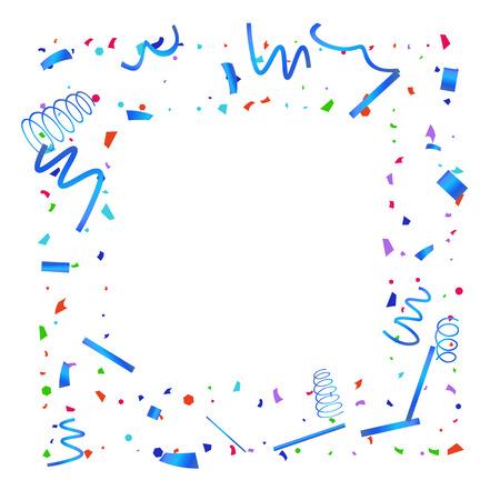 Confetti. Kleurrijke confetti op witte achtergrond. Feestelijke feestelijke achtergrond. Geschikt voor briefkaartachtergrond, spandoek, poster, omslagontwerp.