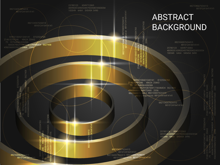 Metal circles sparkle on the background. 3D vector illustration . Creative geometric background. Abstract composition. Gold three-dimensional metal circles in space.