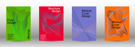Modern design template. A set of modern abstract covers. Minimal vector cover design with abstract lines. Fashionable style.  Sound flyer for creating a fashionable abstract cover, banner,poster. Ilustração