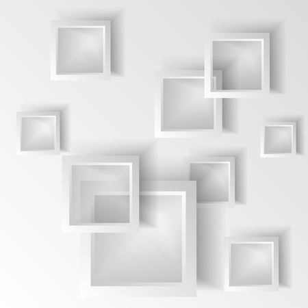 Dynamic shapes on a white background. Design for abstract geometric background consisting of dynamic shapes, intersecting shapes. Vector. Infographics Ilustração