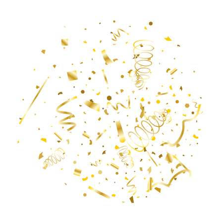 Golden confetti. Gold texture glitter on a white background. Element of design. Golden abstract textures are chaotically falling. Vector illustration, EPS 10.