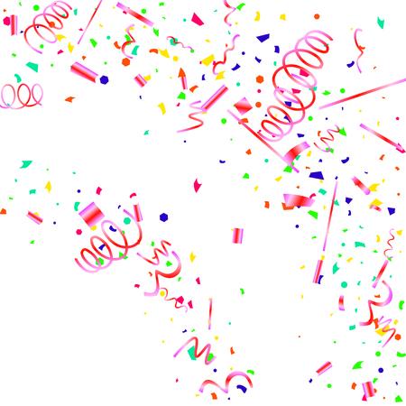 Konfetti. Buntes Konfetti auf weißem Hintergrund. Festlicher festlicher Hintergrund. Geeignet für Postkartenhintergrund, Banner, Poster, Cover-Design. Vektorgrafik