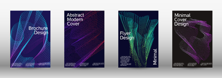 Minimum coverage of a vector. A set of modern abstract backgrounds with abstract gradient linear waves. Sound flyer for creating a fashionable abstract cover, banner, poster, booklet. Ilustração Vetorial