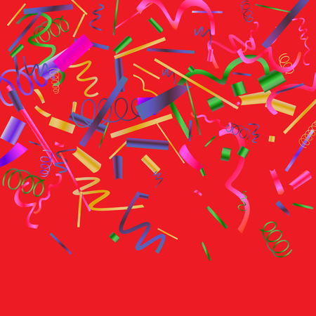 Confetti. Colorful colored confetti on a red background. Festive festive background. Suitable for postcard background, banner, poster, cover design.