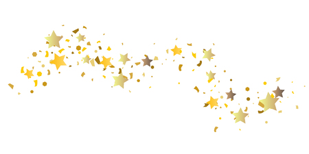 Golden glitter confetti of stars on a white background. Illustration of glittering confetti stars for your design. Decorative element. VIP cards, invitations, gift.