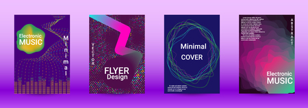 Modern design template. A set of modern abstract covers. Creative sound backgrounds from abstract lines, gradient wave, halftone to create a fashionable abstract cover, banner, poster, booklet. Banque d'images - 124993871