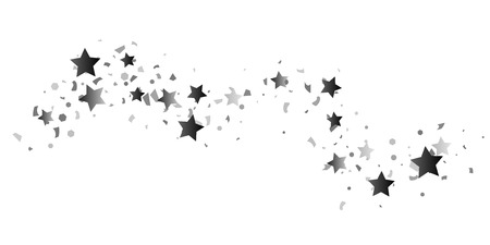 Silver glitter confetti of stars on a white background. Illustration of glittering confetti stars for your design. Decorative element. VIP cards, invitations, gift. Çizim