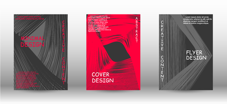 Set of modern abstract covers. Abstract cover with the effect of movement and distortion. Trendy geometric patterns. EPS10 Vector Design.