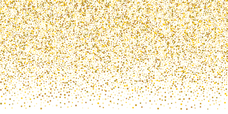 Golden glitter confetti on a white background. Illustration of a drop of shiny particles. Decorative element. Luxury background for your design, cards, invitations, gift, vip.