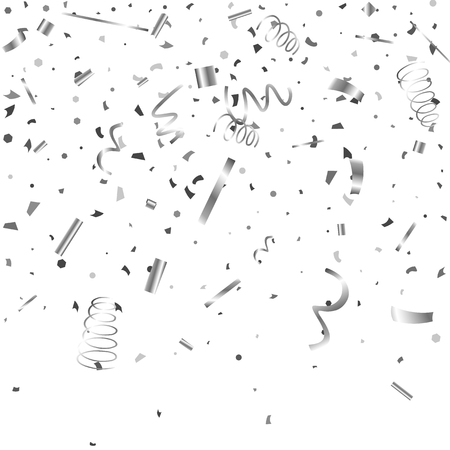 Silver confetti. Silver texture glitter on a white background. The element of design. The silvery abstract textures are chaotically falling. The Vector illustration, EPS 10.