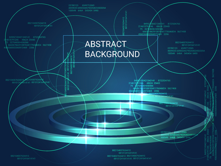 Circles volume sparkle on background. Modern geometric background. Abstract composition. 3D vector illustration . Green three-dimensional circles in space.