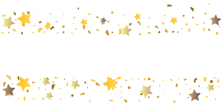 Golden glitter confetti of stars on a white background. Illustration of glittering confetti stars for your design. Decorative element. VIP cards, invitations, gift.