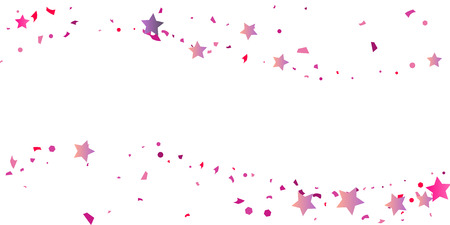 Confetti stars in pink and purple. Illustration of sparkling chaotic confetti stars. Decorative element. VIP cards, invitations, gift, luxury background for your design.