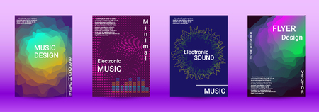 Modern design template. A set of modern abstract covers. Creative sound backgrounds from abstract lines, gradient wave, halftone to create a fashionable abstract cover, banner, poster, booklet.