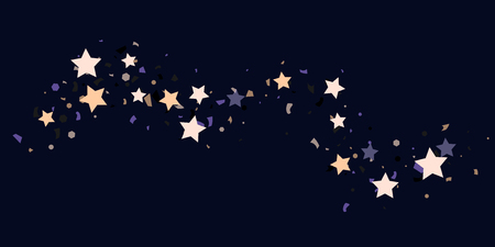 Confetti stars on a black background. Illustration of sparkling chaotic confetti stars. Decorative element. VIP cards, invitations, gift, luxury background for your design.
