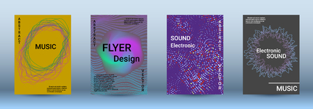 Cover design. The minimum coverage of the vector. Set of modern abstract musical backgrounds. Sound flyer for creating a fashionable abstract cover, banner, poster, booklet.  イラスト・ベクター素材