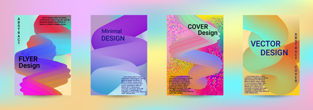 Cover design. Abstract 3d Gradient Background with Colorful Liquid. Modern Wave Flow Shape. Modern Vector Illustration. Stock Illustratie