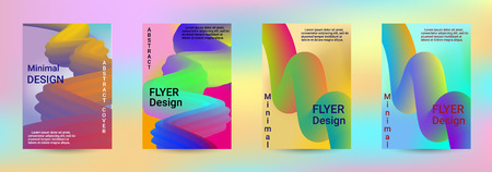 Cover design. Abstract 3d Gradient Background with Colorful Liquid. Modern Wave Flow Shape. Modern Vector Illustration.  イラスト・ベクター素材