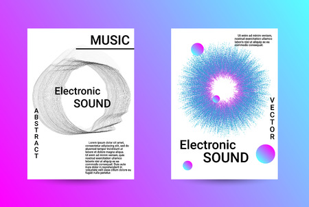 Music Cover design. A set of modern abstract backgrounds. Abstract party posters. Futuristic wave patterns are distorted with dotted lines. Techno Music Festival Advertising. Dance party background. Foto de archivo - 123079485