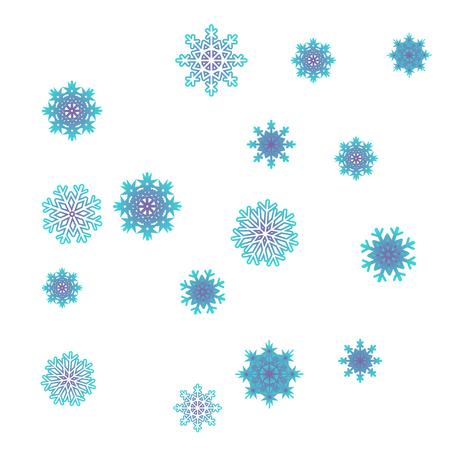 Vettore di sfondo di Natale e Capodanno con fiocchi di neve che cadono. L'effetto di decorare i fiocchi di neve. Vacanze invernali. Adatto per una cartolina di Natale, banner o poster. EPS 10 Vettoriali