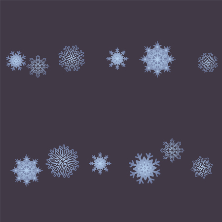Christmas and New Year background vector with falling snowflakes. The effect of decorating snowflakes. Winter vacation. Well suited for a Christmas card, banner or poster. EPS 10 Vettoriali
