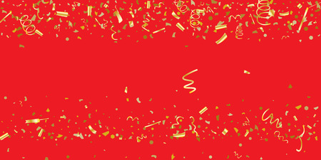 Golden glitter confetti on a red background. Illustration of a drop of shiny particles. Decorative element. Luxury background for your design, cards, invitations, gift, vip. 일러스트