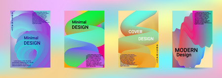 Cover design. Abstract 3d Gradient Background with Colorful Liquid. Modern Wave Flow Shape. Modern Vector Illustration. 일러스트
